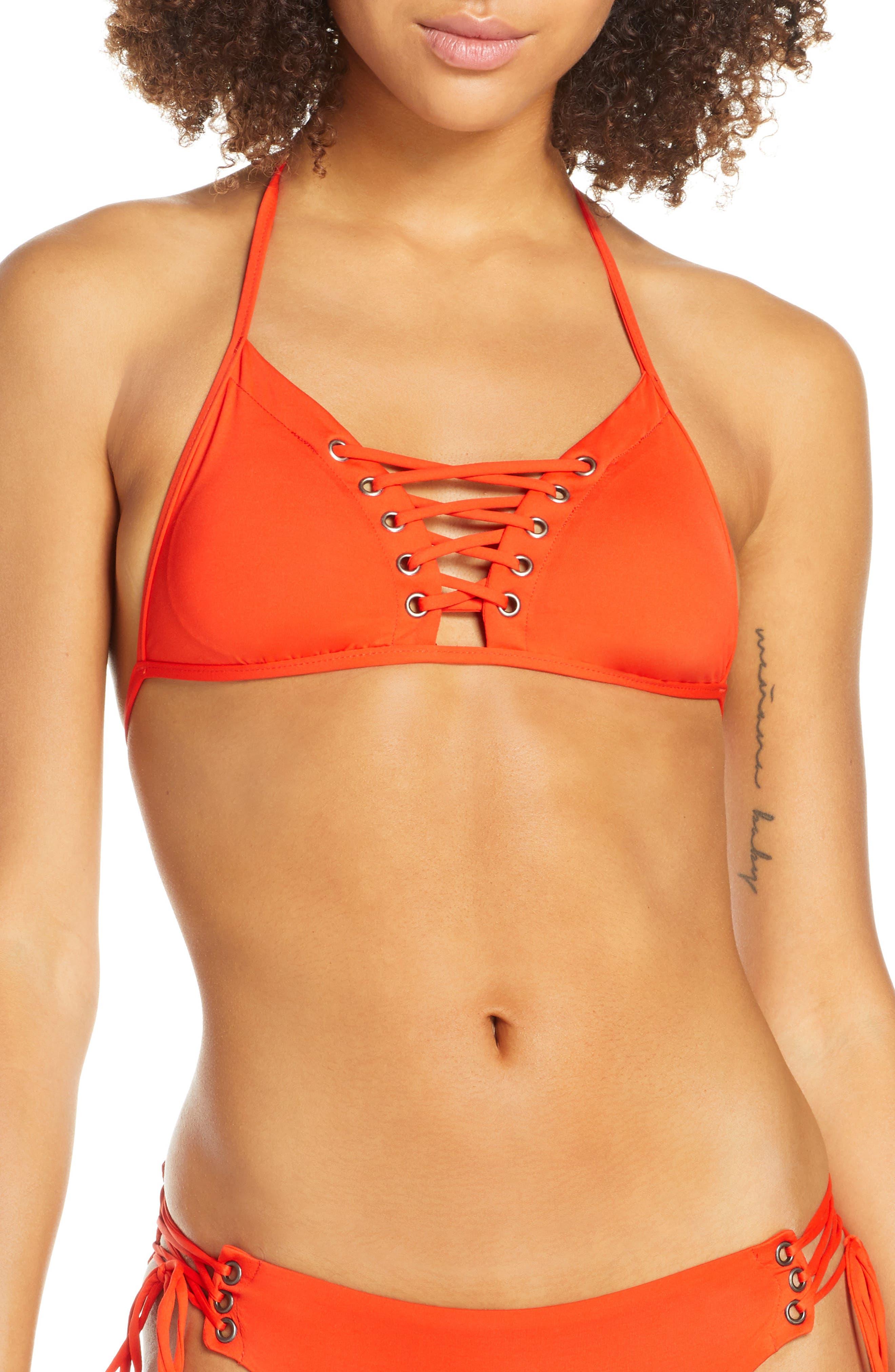 Isabella Rose Home Lace Bikini Top, Orange