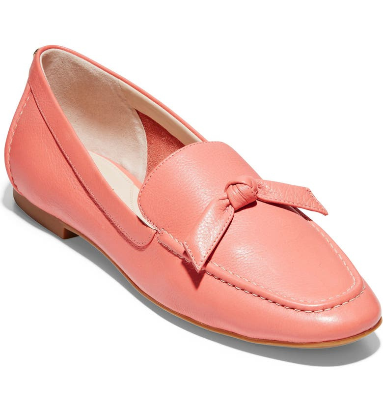 COLE HAAN Caddie Bow Loafer, Main, color, BURNT CORAL LEATHER