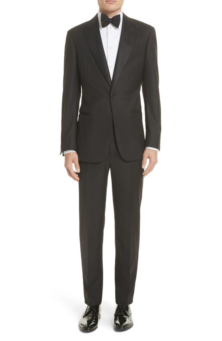 GIORGIO ARMANI Trim Fit Wool Tuxedo, Main, color, BLACK