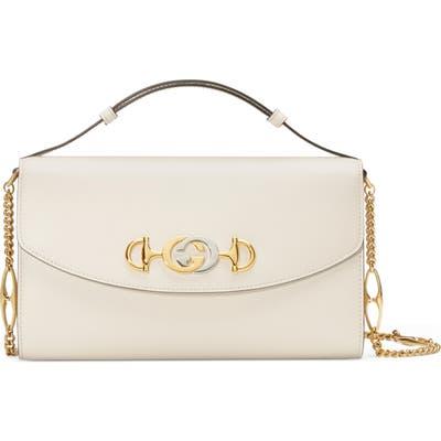Gucci Linea Zumi Small Leather Shoulder Bag - White