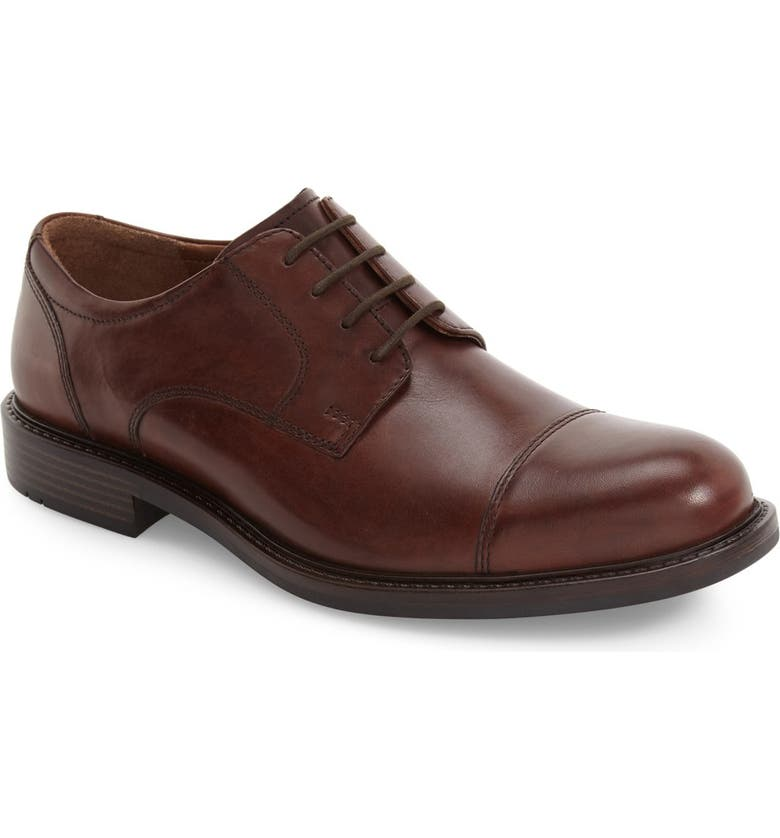 JOHNSTON & MURPHY Tabor Cap Toe Derby, Main, color, BROWN LEATHER