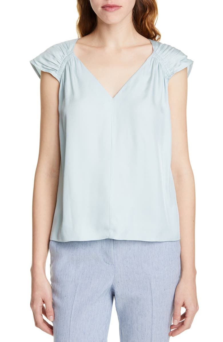 TAILORED BY REBECCA TAYLOR Silk Blend Top, Main, color, SAGE