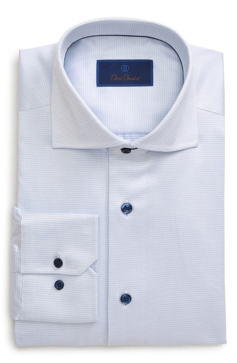 DAVID DONAHUE Regular Fit Print Dress Shirt, Main, color, WHITE/ BLUE