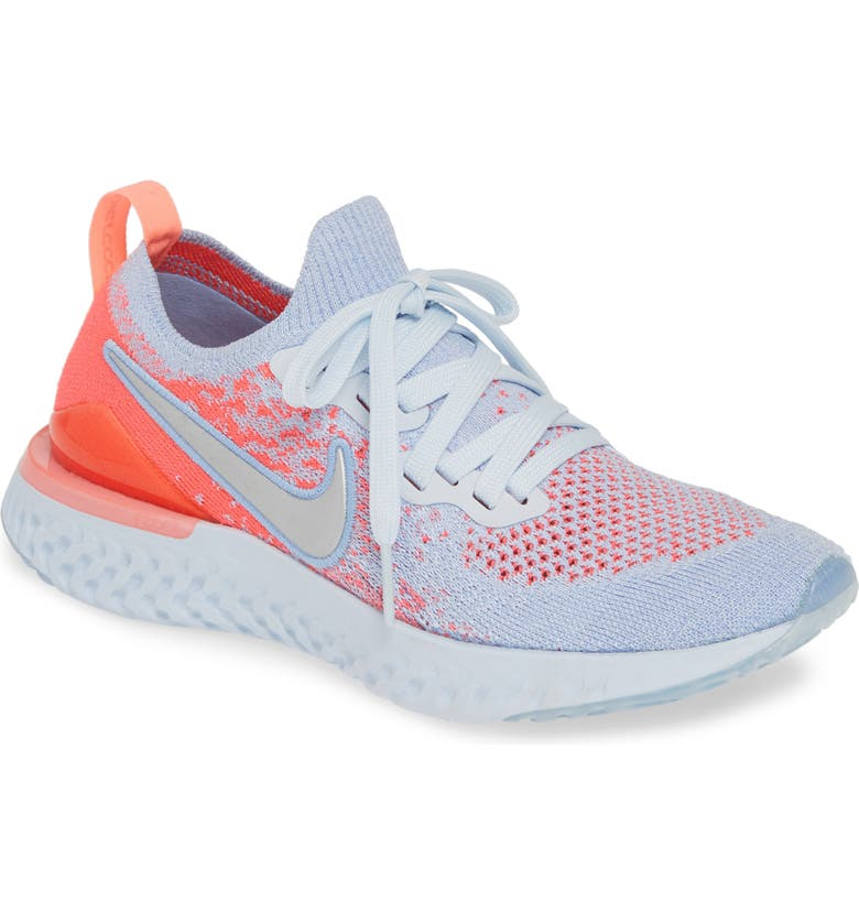 9ab95c2275b0 Epic React Flyknit 2 Running Shoe, Main, color, ALUMINUM/ SILVER-PINK