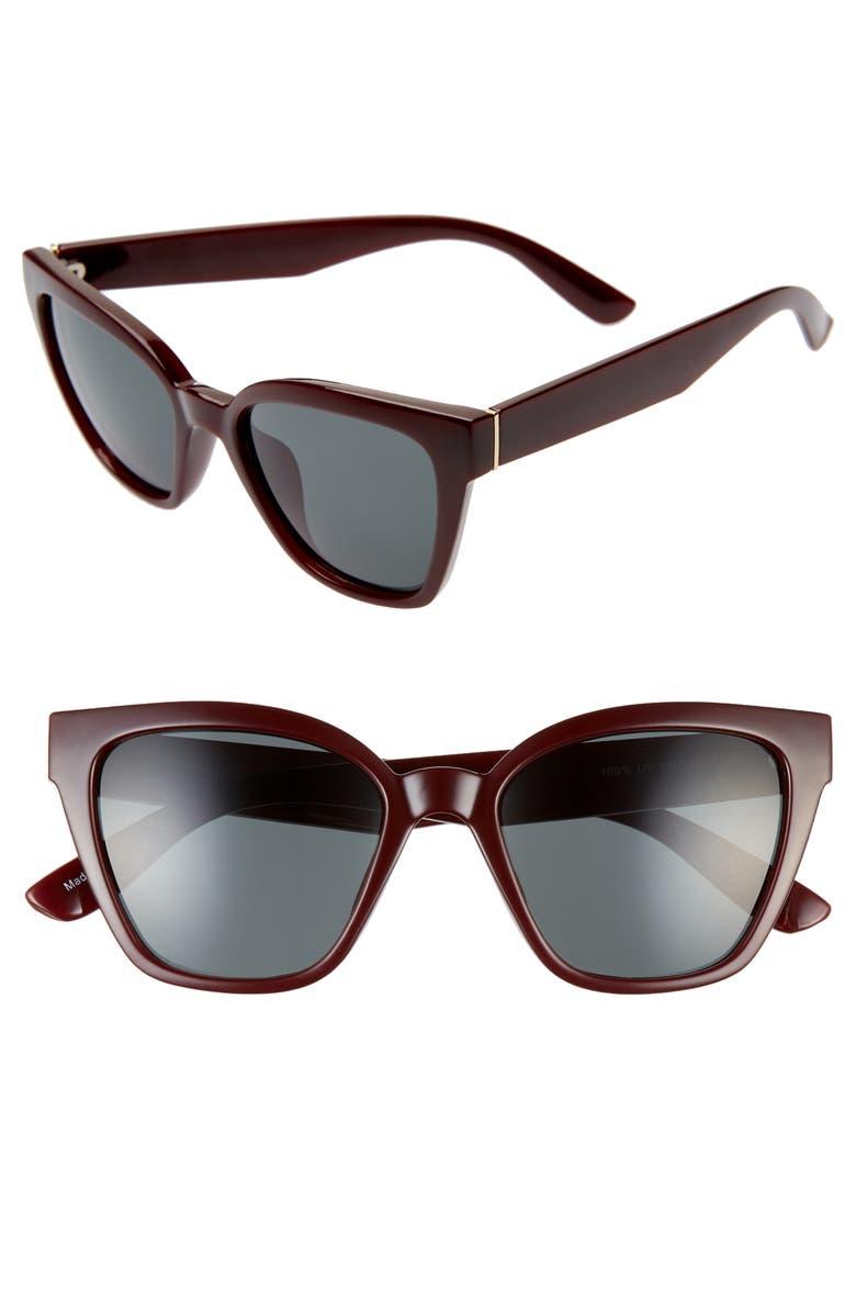 BP. 52mm Cat Eye Sunglasses, Main, color, MILKY/ BURGUNDY
