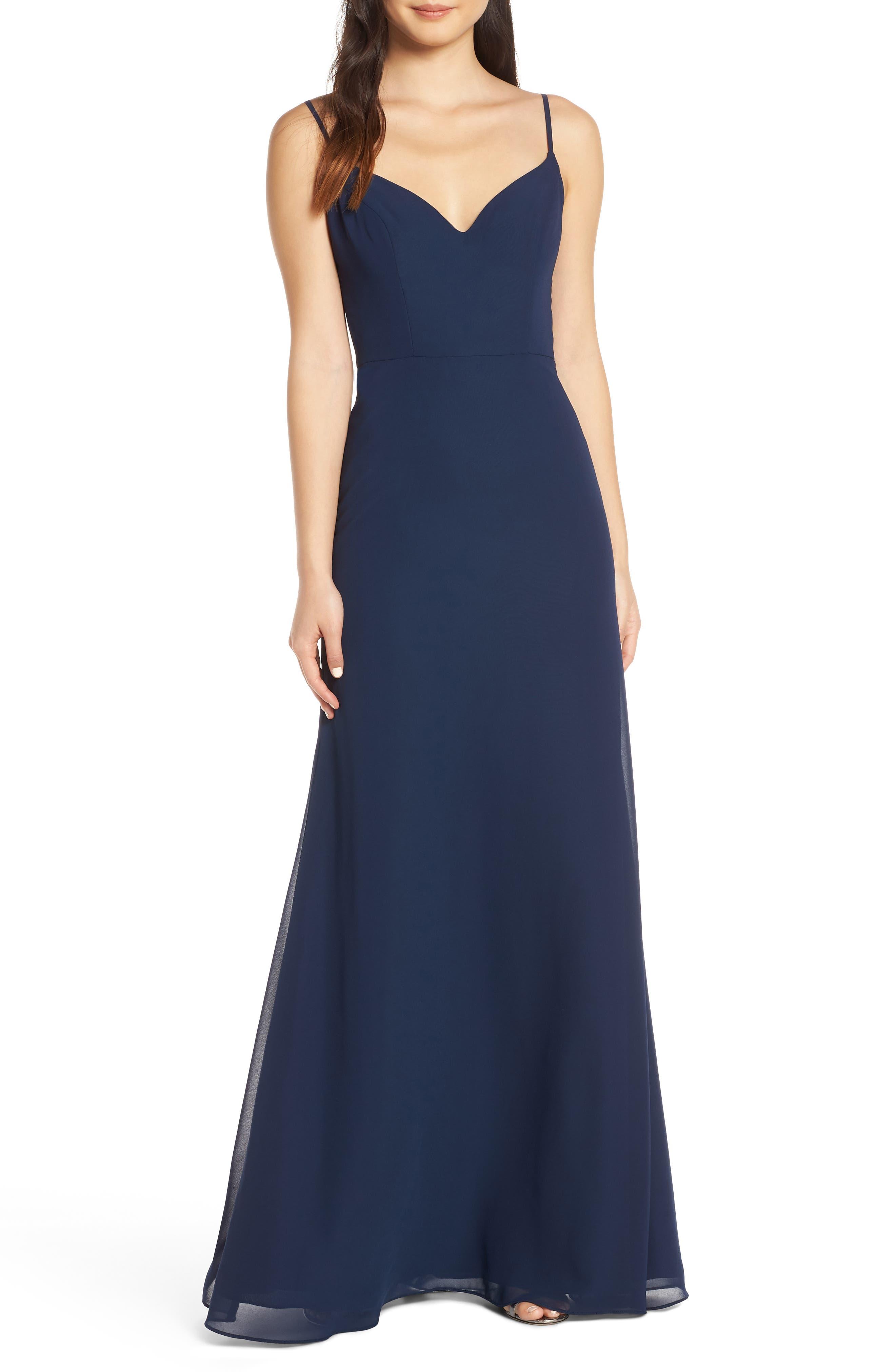 Hayley Paige Occasions V-Neck Chiffon Evening Dress, Blue