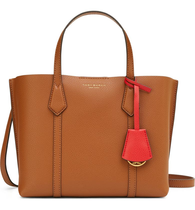 TORY BURCH Small Perry Triple Compartment Leather Satchel, Main, color, LIGHT UMBER