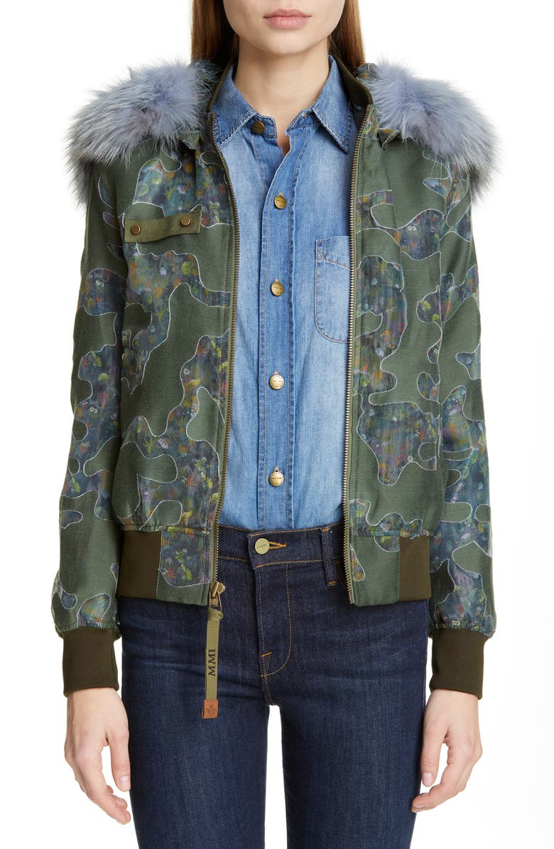 MR & MRS ITALY Camo Bomber Jacket with Removable Genuine Fox Fur Trim, Main, color, 300