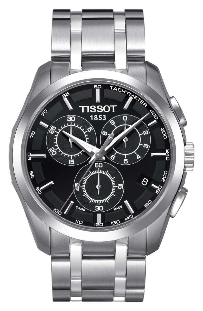 TISSOT Couturier Chronograph Bracelet Watch, 41mm, Main, color, SILVER/ BLACK/ SILVER