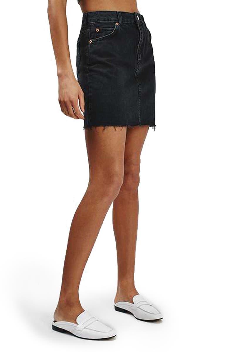TOPSHOP Moto High Rise Raw Hem Denim Skirt, Main, color, 001