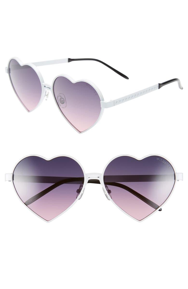 WILDFOX 'Lolita' 59mm Heart Sunglasses, Main, color, 100