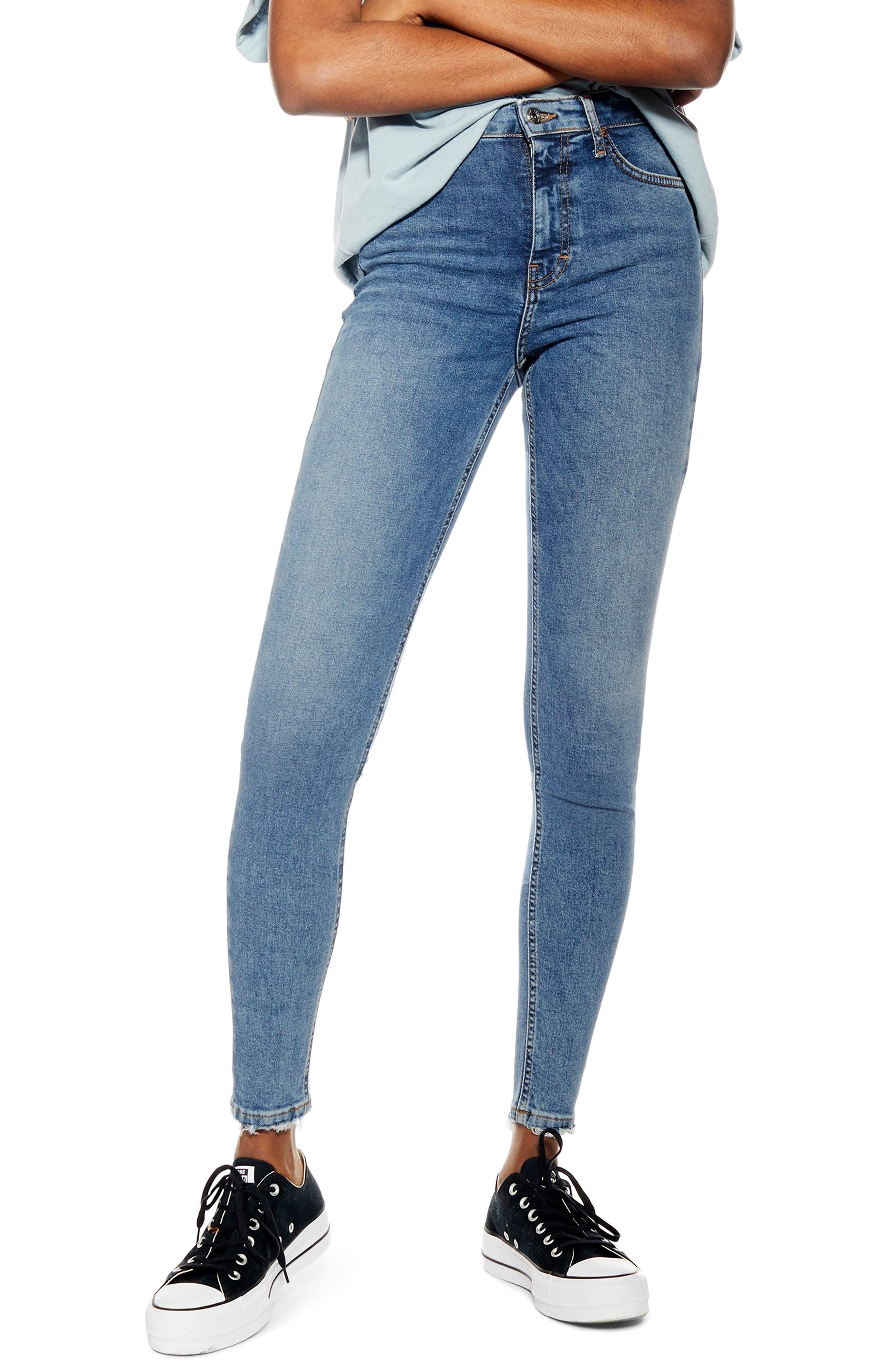 Petite Women's Topshop Jamie Fray Hem High Waist Skinny Jeans,  25W x 28L (fits like 24W) - Blue