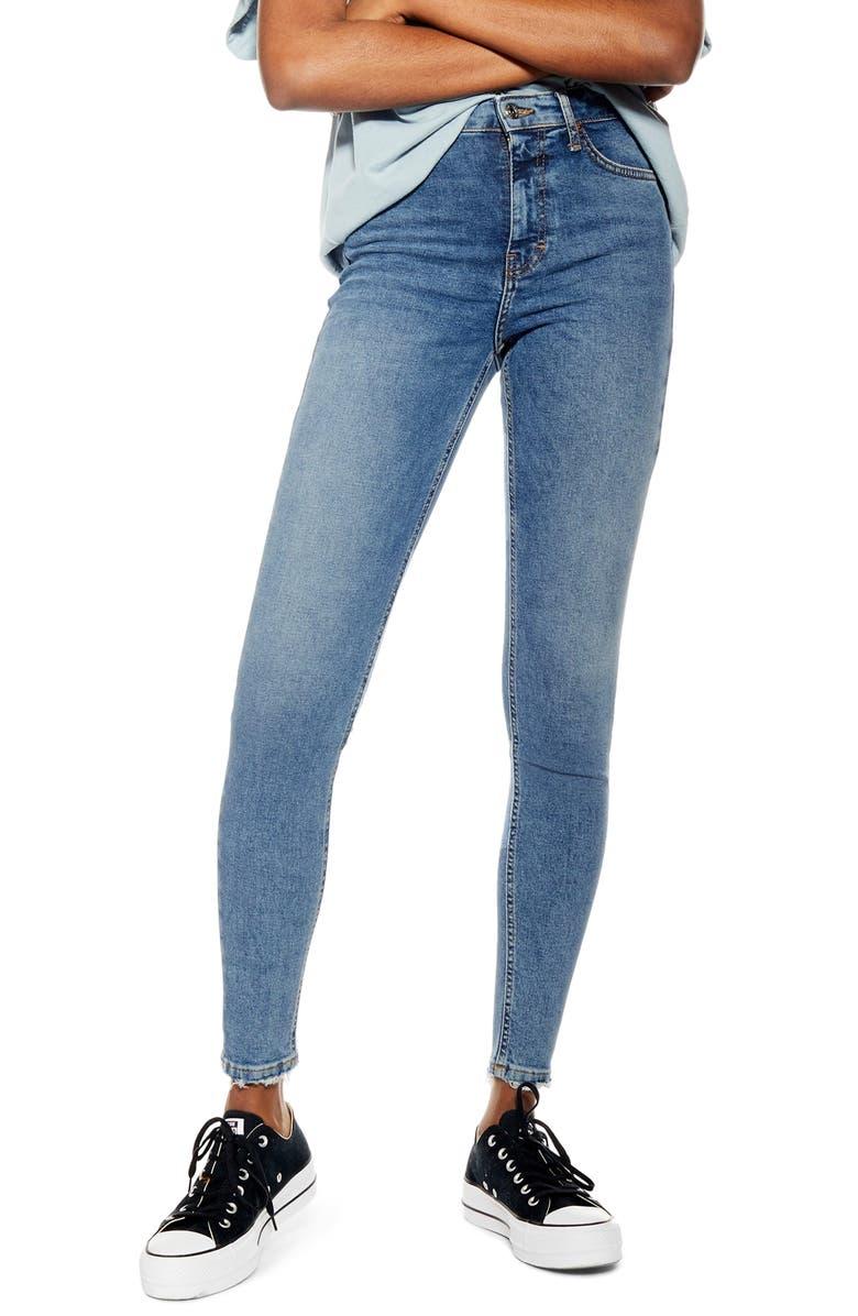 TOPSHOP Jamie Fray Hem High Waist Skinny Jeans, Main, color, BLUE