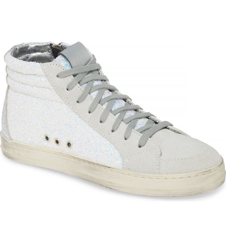 P448 Skate High Top Sneaker, Main, color, WHITE GLITTER
