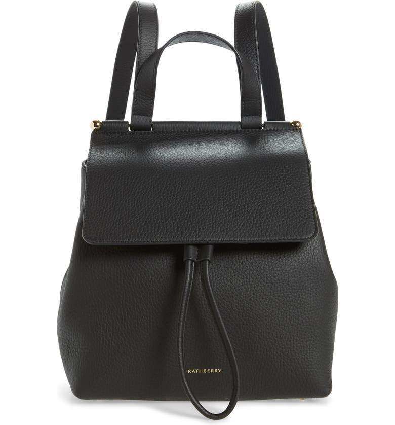 STRATHBERRY Leather Backpack, Main, color, BLACK