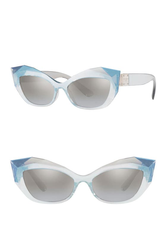 Dolce & Gabbana 54mm Gradient Beveled Cat Eye Sunglasses In Grey/ Silver Gradient Mirror