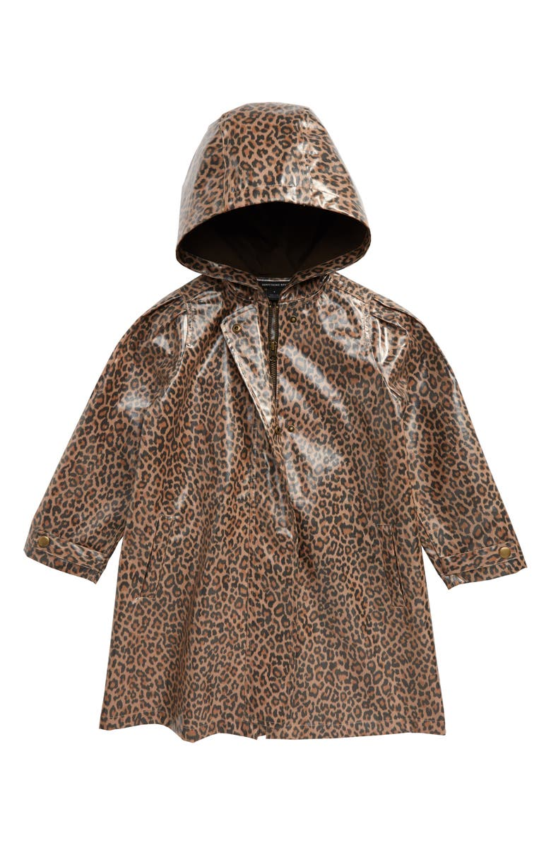 SOMETHING NAVY Puff Sleeve Rain Coat, Main, color, TAN MACAROON LEOPARD