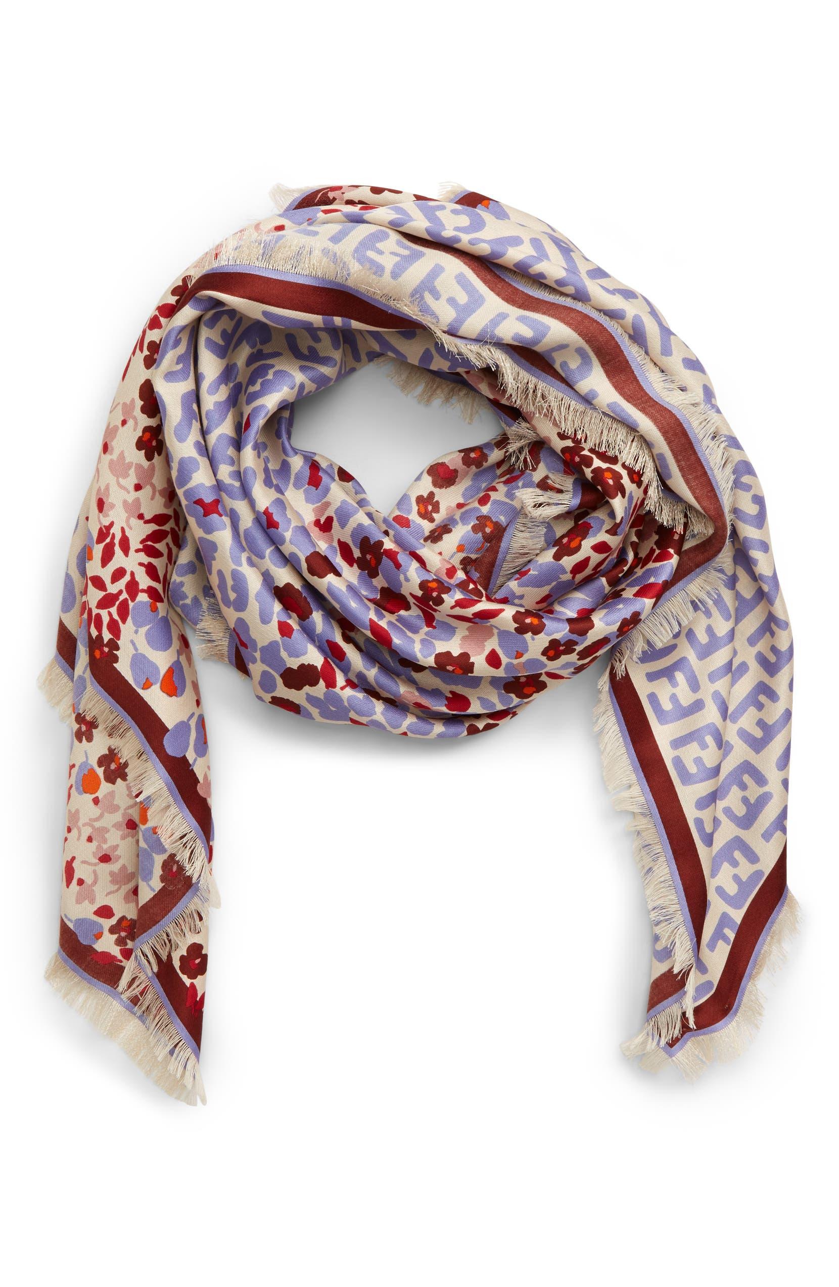 2bc61462e3 Fendi FF Floral Silk & Wool Shawl | Nordstrom