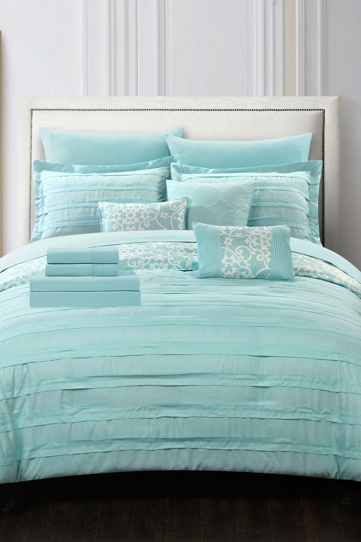 Image of Chic Home Bedding King Isobelle Complete Pleated Ruffles and Reversible Printed Bed Comforter 10-Piece Set - Aqua