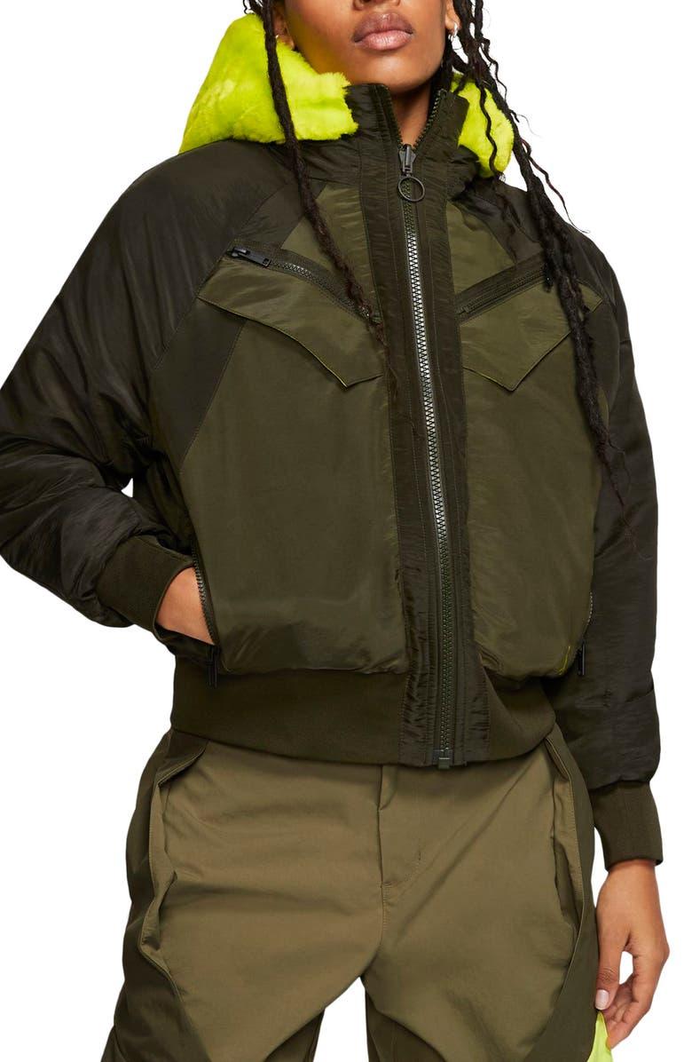 NIKE Jordan Reversible Faux Fur Bomber Jacket, Main, color, MEDIUM OLIVE/ KHAKI/ CYBER