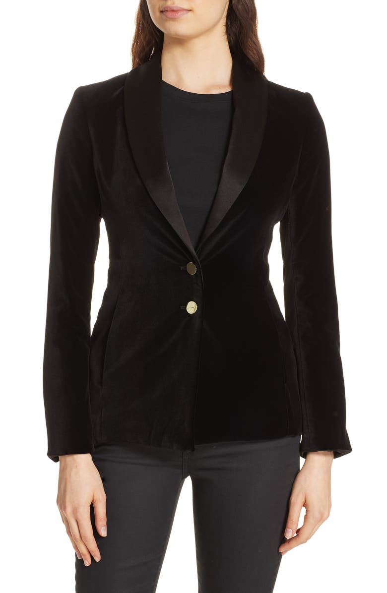 ALICE + OLIVIA Vance Velvet Blazer, Main, color, 001