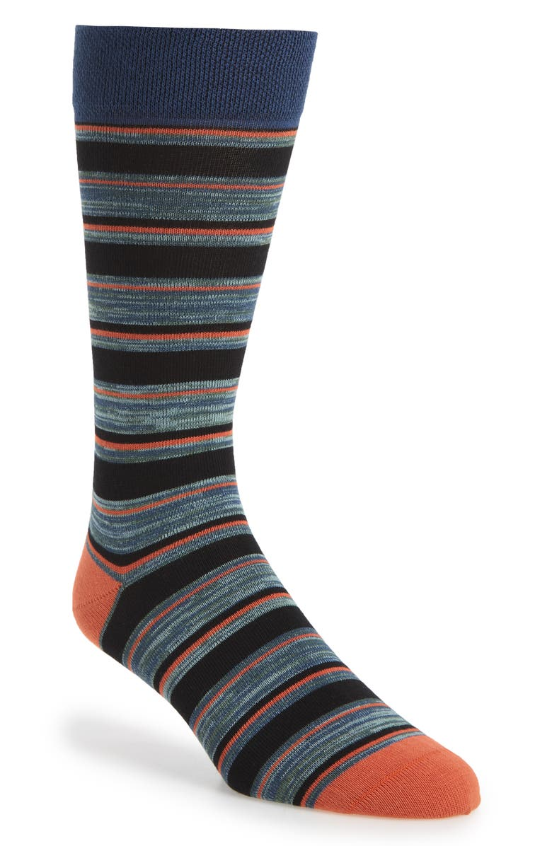 TED BAKER LONDON Stripe Socks, Main, color, BLACK