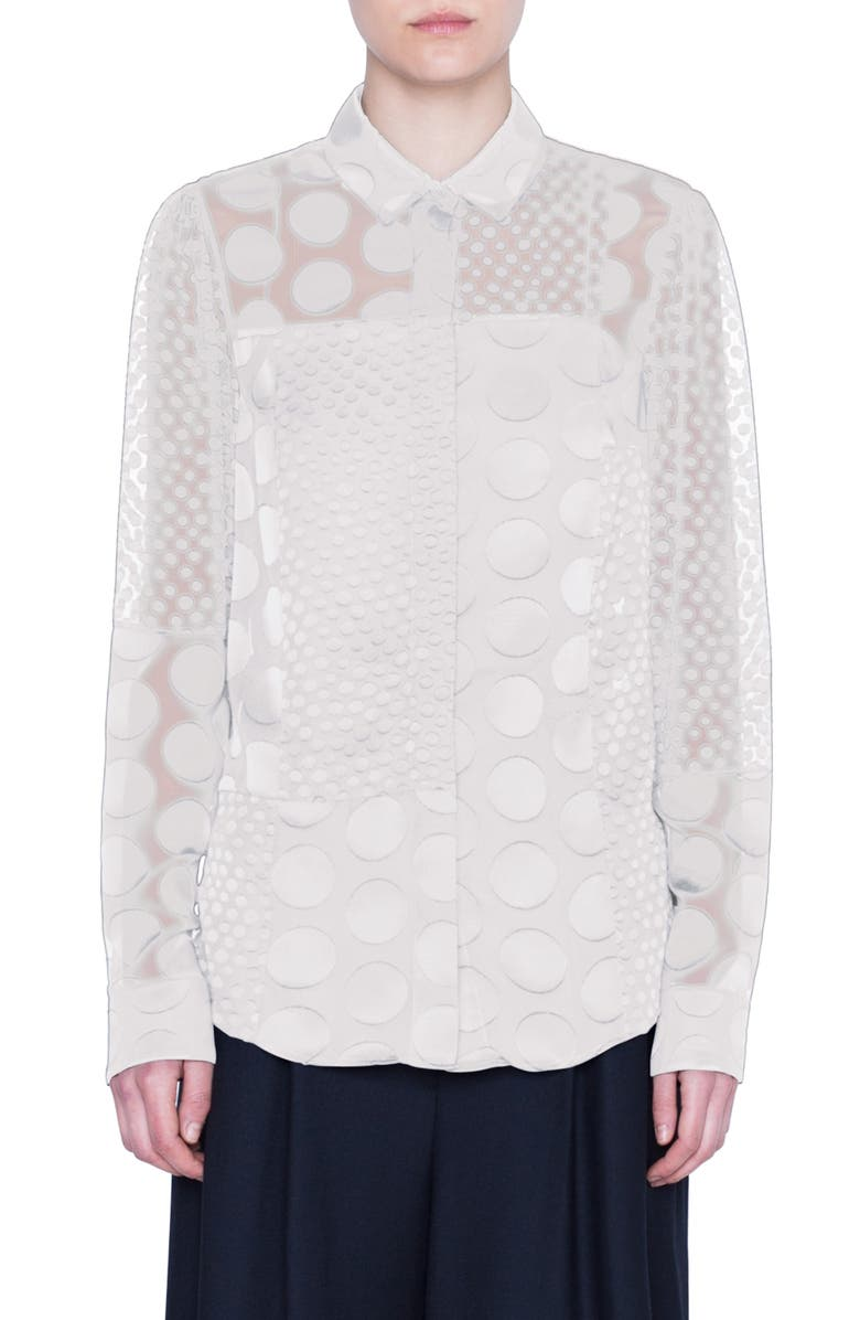 AKRIS PUNTO Polka Dot Devoré Blouse, Main, color, CREAM