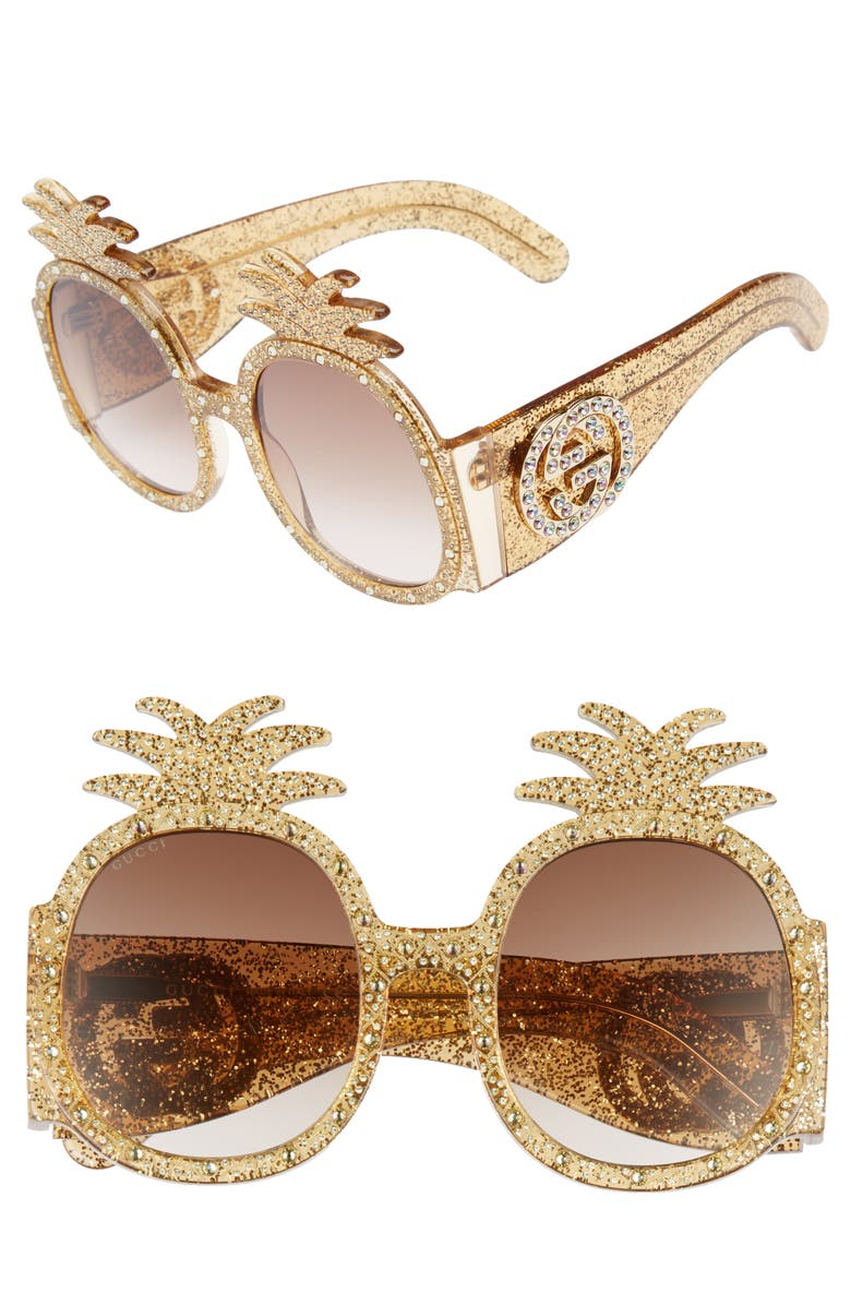 GUCCI 53mm Pineapple Sunglasses, Main, color, 710