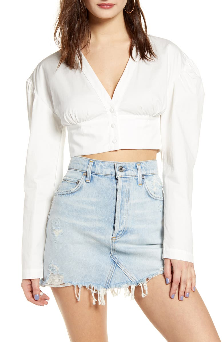 ENDLESS ROSE Puff Sleeve Cotton Crop Top, Main, color, WHITE