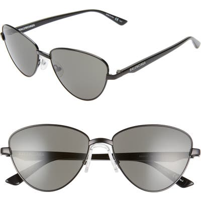 Balenciaga 57Mm Cat Eye Sunglasses - Semi-Matte Black/ Grey