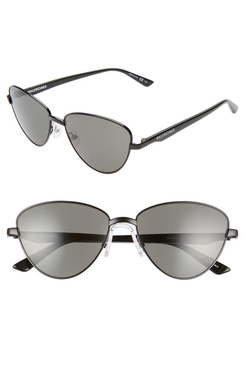 BALENCIAGA 57mm Cat Eye Sunglasses, Main, color, SEMI-MATTE BLACK/ GREY