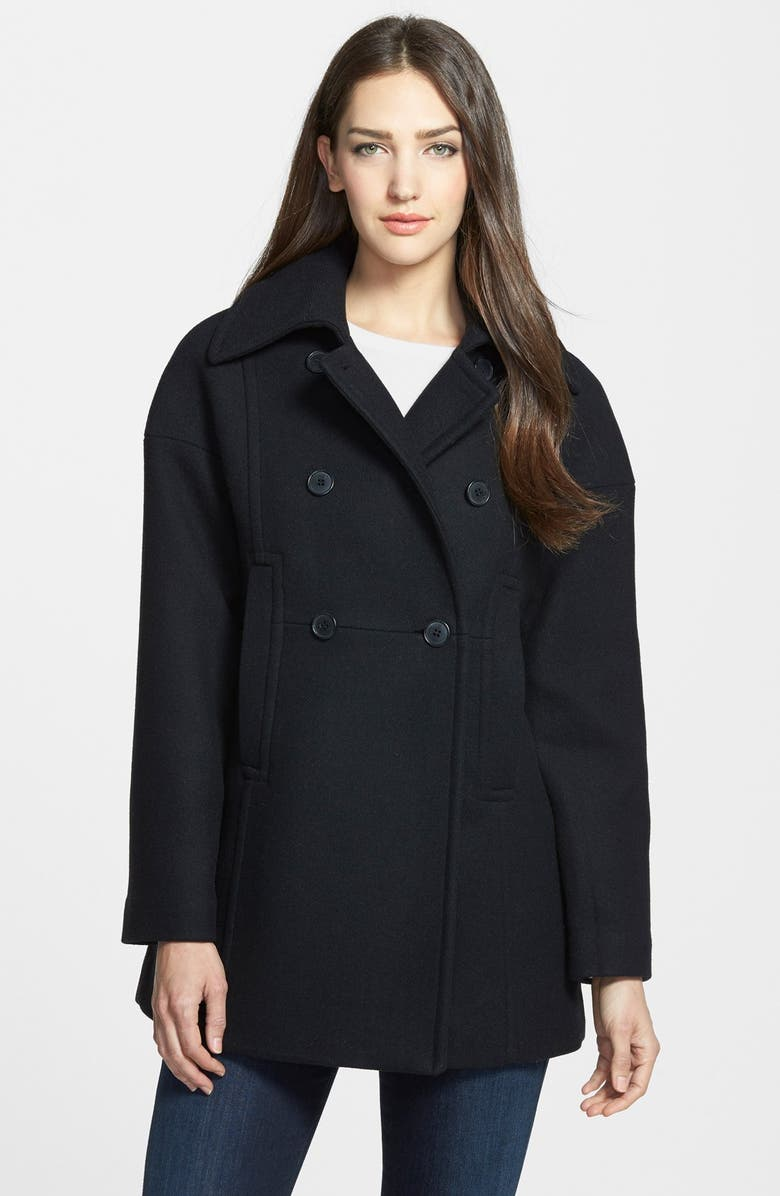 TRINA TURK Double Breasted Wool Blend Peacoat, Main, color, 001