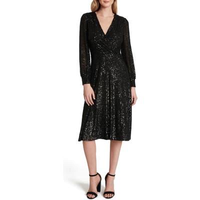 Tahari Long Sleeve Sequin Faux Wrap Dress, Black