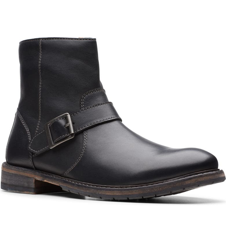 CLARKS<SUP>®</SUP> Clarkdale Zip Boot, Main, color, BLACK LEATHER
