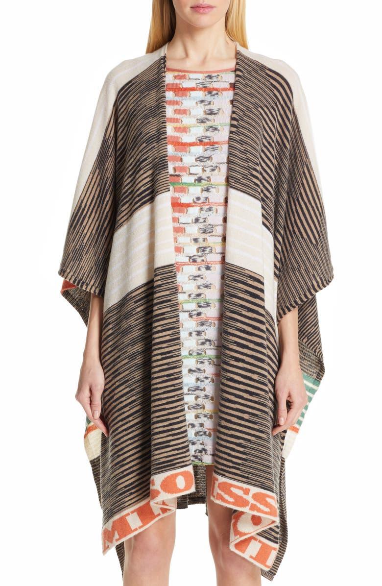 MISSONI Logo Trim Cashmere Wrap, Main, color, BROWN