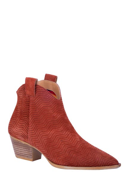 Image of DINGO Kuster Suede Perforated Western Ankle Boot