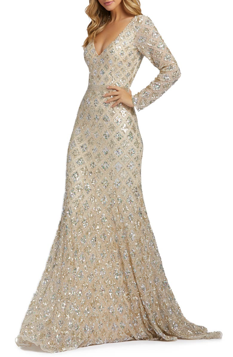 MAC DUGGAL Long Sleeve Sequin Gown, Main, color, NUDE ROSE
