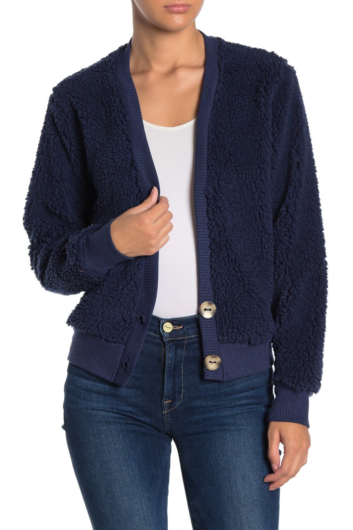 Image of Socialite Faux Shearling Button Front Cardigan
