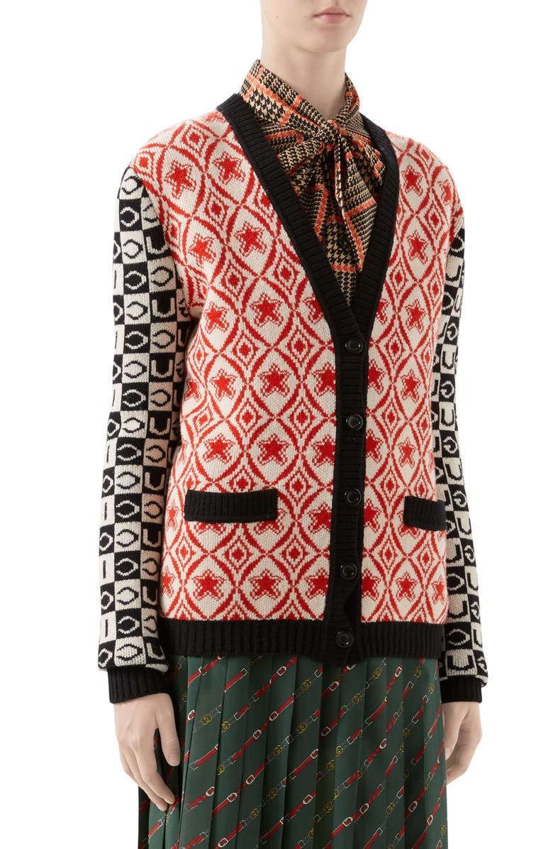 GUCCI Checkerboard Jacquard Wool Cardigan, Main, color, RED/ BLACK/ IVORY