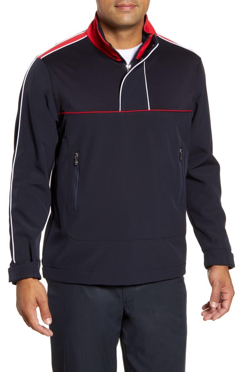 BUGATCHI Water Resistant Quarter Zip Jacket, Main, color, NAVY