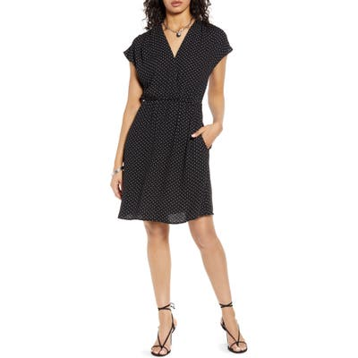 Petite Halogen Faux Wrap Dress, Black