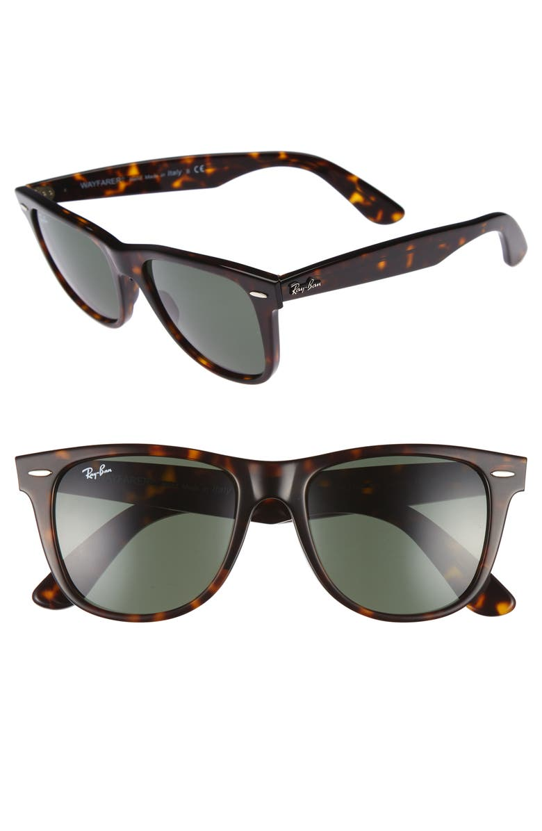 RAY-BAN Classic Wayfarer 54mm Sunglasses, Main, color, DARK TORTOISE/ GREEN