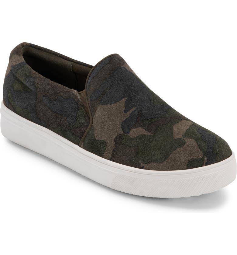 BLONDO Gracie 2.0 Waterproof Slip-On Sneaker, Main, color, GREEN CAMOUFLAGE SUEDE