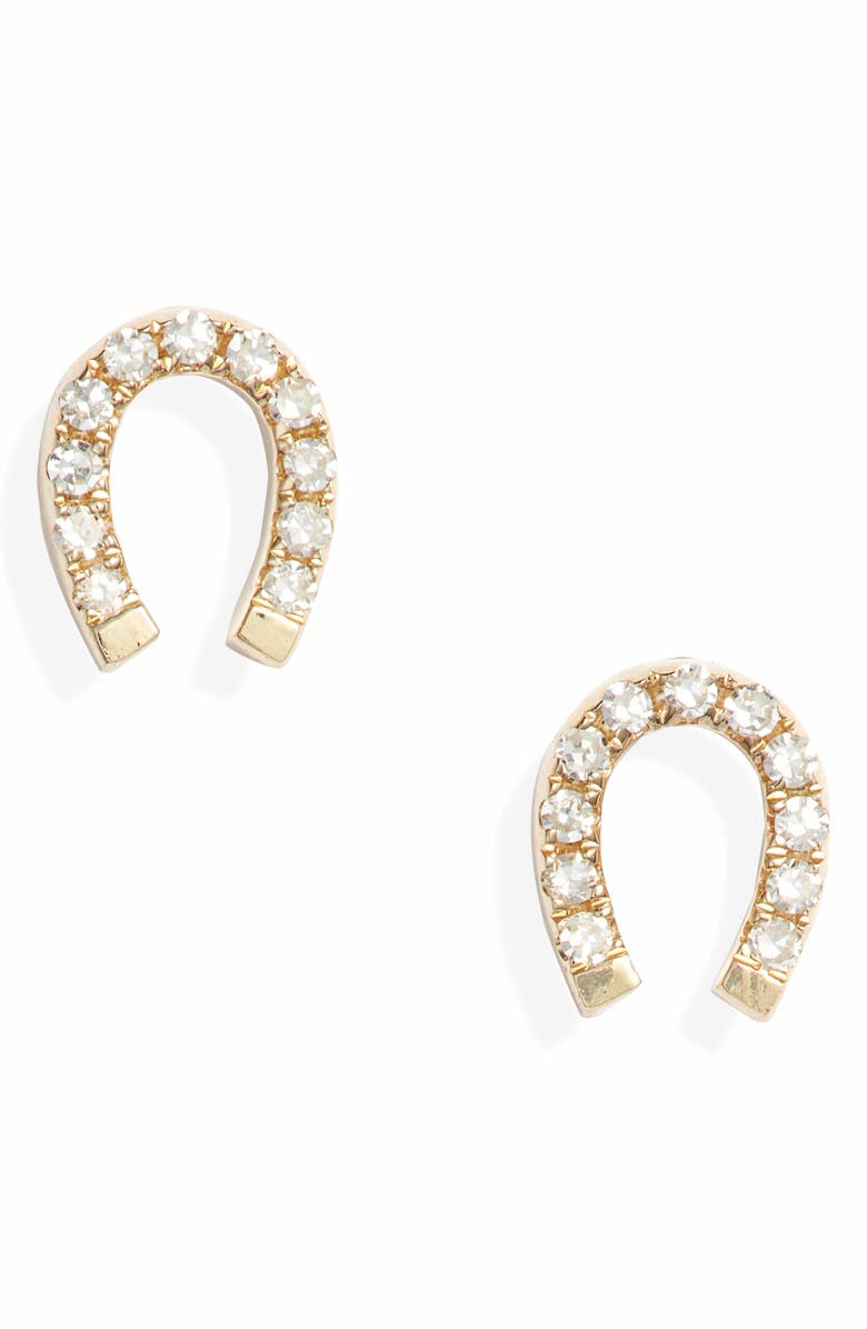 EF COLLECTION Diamond Mini Horseshoe Stud Earrings, Main, color, YELLOW GOLD/ DIAMOND