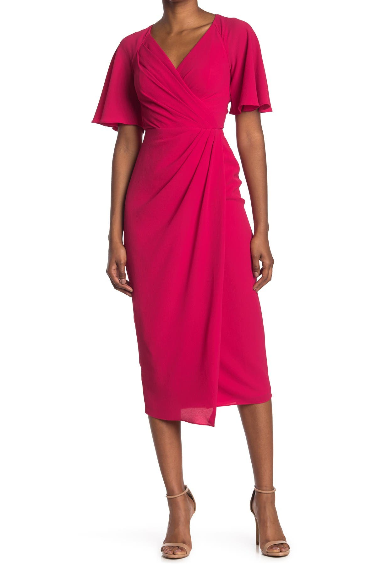 Image of Maggy London Side Drape Midi Dress