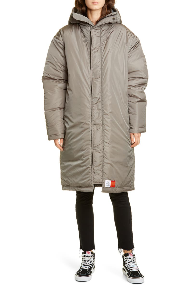 MARTINE ROSE The Wenger Water Resistant Hooded Nylon Parka, Main, color, LIGHT GREY