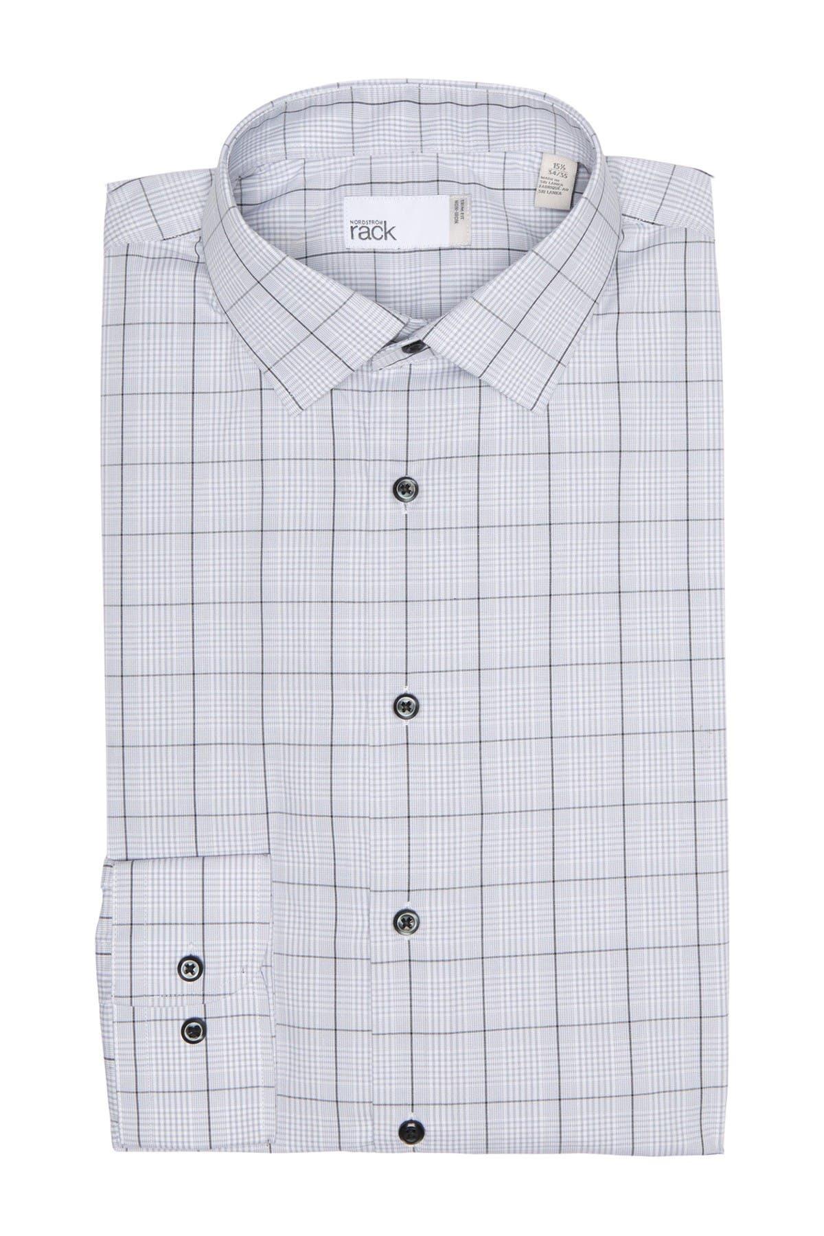 Image of Nordstrom Rack Plaid Non-Iron Trim Fit Dress Shirt