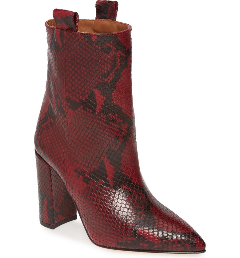 PARIS TEXAS Snake Textured Leather Bootie, Main, color, DARK RED SNAKE