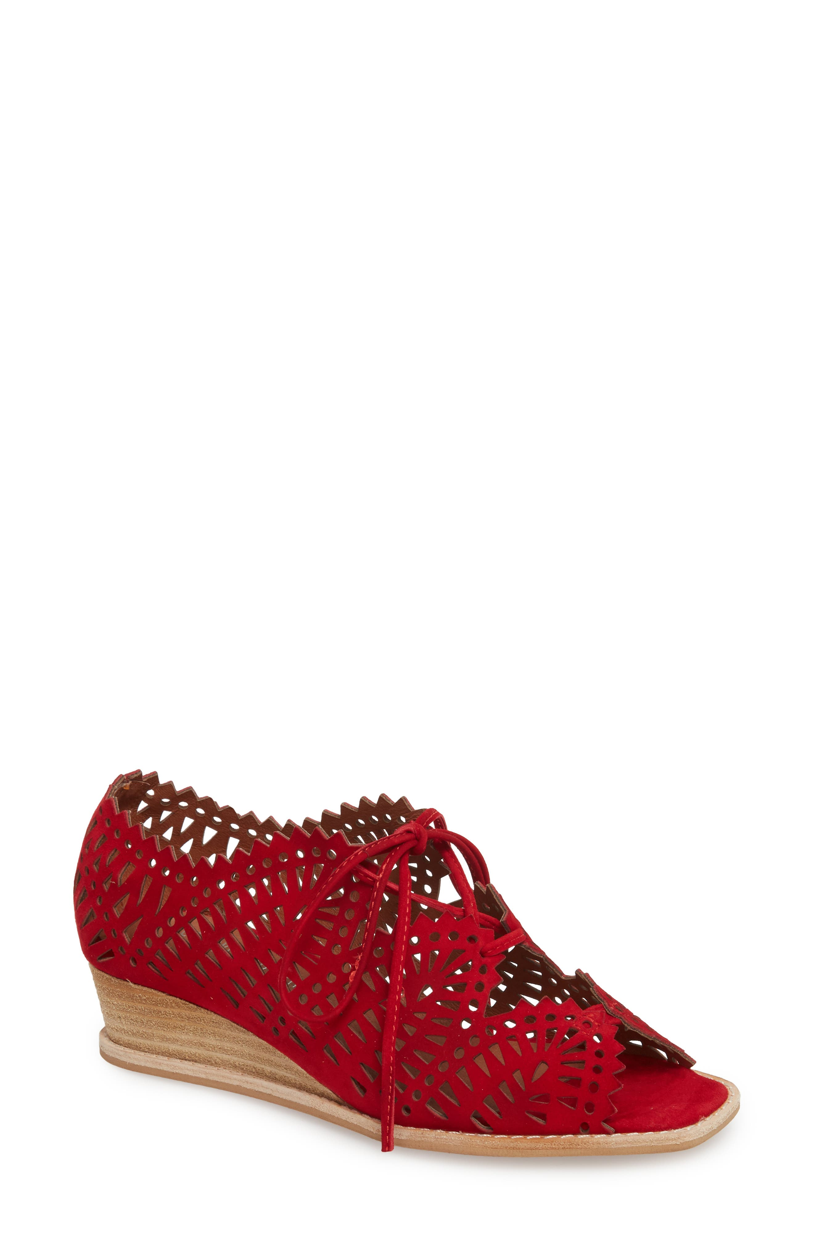 Jeffrey Campbell Espejo Lace-Up Wedge, Red