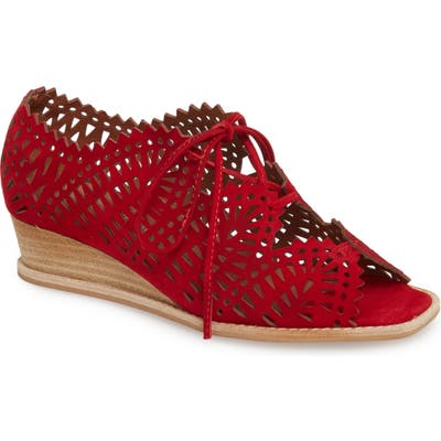 Jeffrey Campbell Espejo Lace-Up Wedge- Red